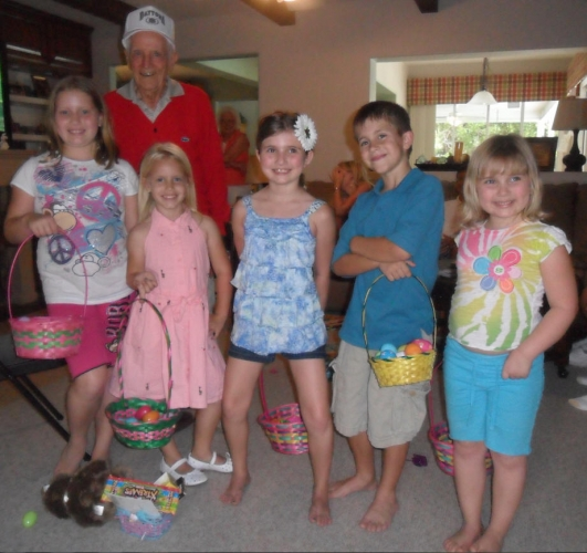 Grandpa and the kids at Easter