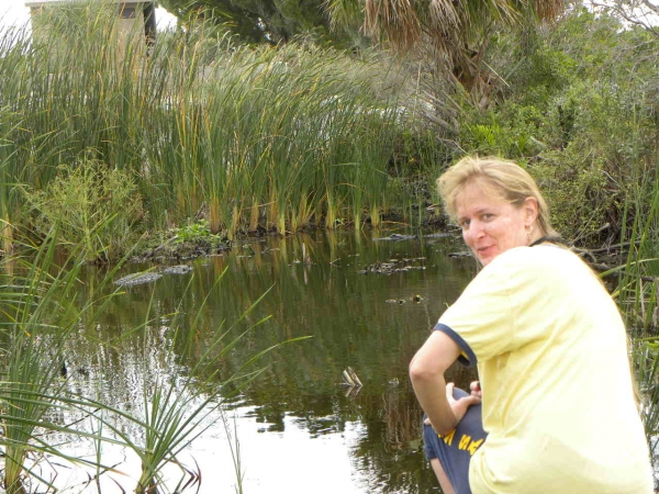 Chris with gators in the backround in Merrit Island Presserve Florida