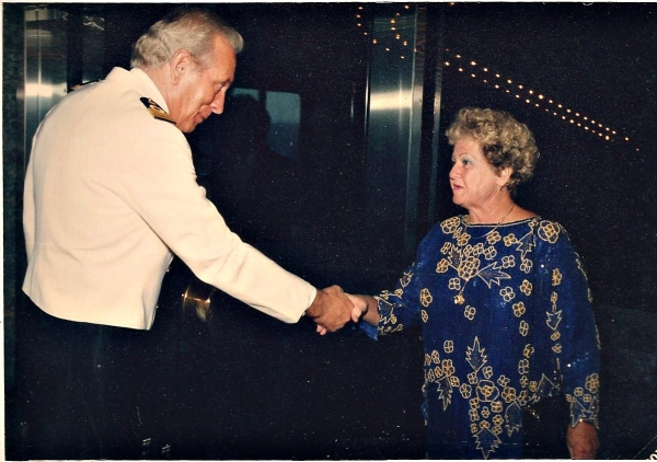 June 1991- Lona meeting the captain on a cruise to Aruba, St. Thomas and Grenada.