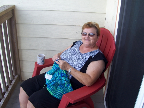 Knitting even on our 14th anniversary in St. Augustine.